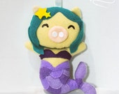 Mermaid Star Purple Handmade Felt Plush Pig Ornament