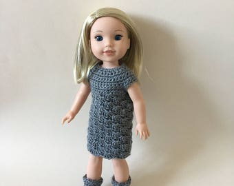 "Doll dress & boots for 14.5"" doll such as American Girl Wellie Wishers. Handmade. Crocheted."
