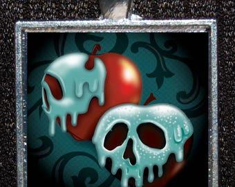 Snow White Villain Evil Queen Poison Apple Skull Silver Pendant Walt Disney World Disneyland Disneyana Necklace Jewelry