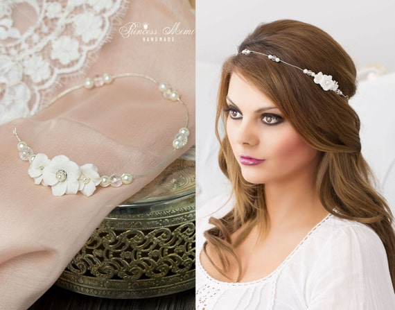 Bridal hair vine headpiece pearls amp rhinestones in ivory silver wired