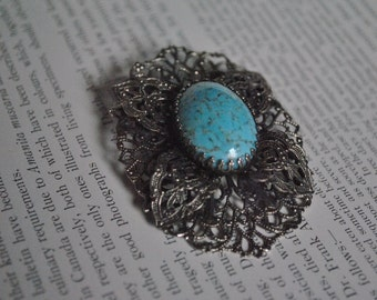Vintage Blue Cabochon Brooch - 1950s Costume Jewelry
