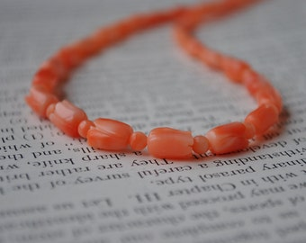 Vintage Carved Pink Coral Necklace - 1950s Carved Coral Beads