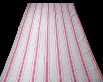 Swedish Christmas Linen Curtains with Red Stripes . Set of Two . GOD JUL . Made in Sweden