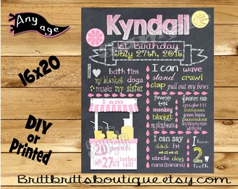 First Birthday Chalkboard sign girl 1st birthday lemonaid chalk board photo prop customized first birthday poster digital file or printed
