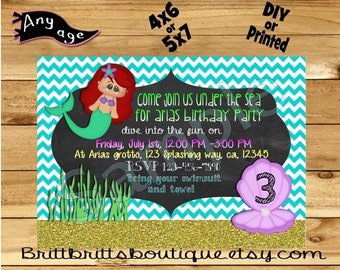 Under the Sea Invitation first Birthday party Invitations Mermaid Custom Birthday invite 4x6 or 5x7 Digital OR Printed with envelopes