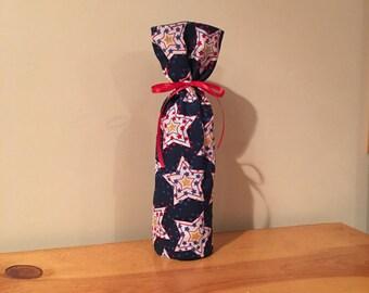 Wine bottle bag. Holiday. Winter. Stars. Reversible.