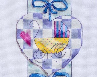 Baby Hearts - counted cross stitch Chart.  Modern birth sampler design to personalise.  Welcome Baby.  New Baby Gift.