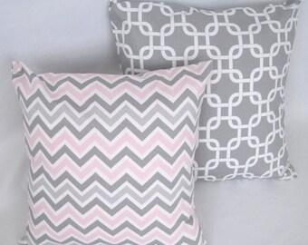 CLEARANCE Pillow Covers, Pink Pillows, Gray Pillows, Pillow, Baby, Nursery, Decorative Throw Pillow, Throw Pillows, Chevron
