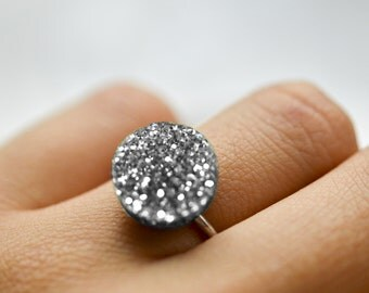Glitter Dot Sterling Silver Ring