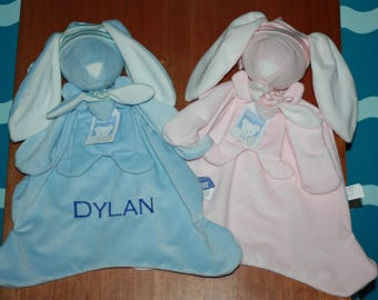 Personalized Bunny - Blue or Pink Custom Bunny Snuggle - Personalized Baby Shower Gift - Custom Bunny gift - Personalized Bunny -