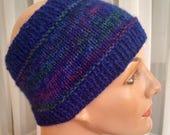 Hand-knit winter headband ear warmer, variegated purple blue qiviuk and merino wool, headband ear warmer, winter ear muff