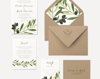 Olive Branch Wedding Invitation Olive Leaves Envelope Liner Rustic Kraft Envelopes Green Leaf Invitations