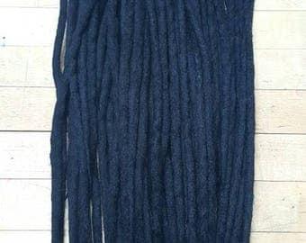 Wool Dreadlocks Set of 30 Dreads Jet Black Single Ended Dreads