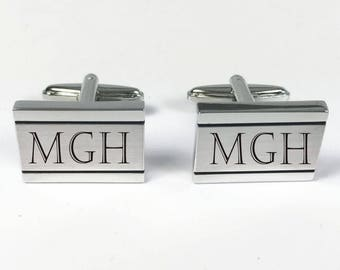 Set of One Personalized Cuff Links ,Custom Cuff Links, Engraved Monogrammed cufflinks, Tacks -Groomsman, Groomsmen gift, free engraving