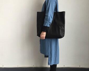 Large soft black leather tote bag, black leather hobo bag, black leather shopper, black leather changing bag, black leather laptop bag
