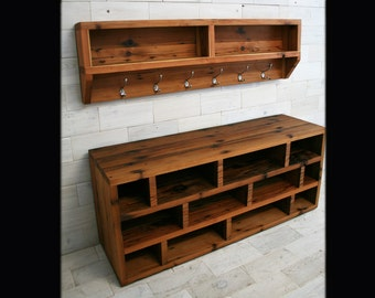 The Arcadian Coat Rack & Shoe Bench made from Reclaimed Redwood