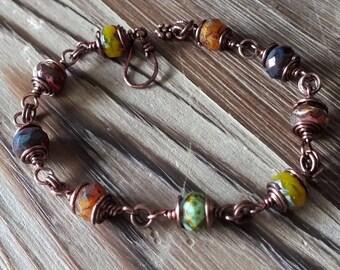 Czech Picasso Bead and Copper Bracelet, bohemian bracelet, boho bracelet, hippie, earthy bracelet, multicolor bracelet