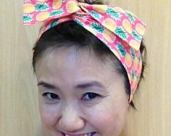 Pineapple Hair Scarf/Fine Pima Cotton Hair Accessory/Wired Headband Hair Tie Headwrap/Turband/Pink
