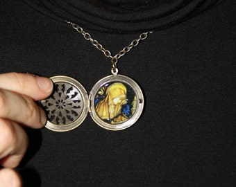 Hildegard of Bingen locket pendant- FREE SHIPPING