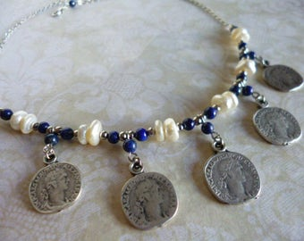 White Freshwater Pearls and Blue Lapis Lazuli Gem Necklace with Boho Silver Coins