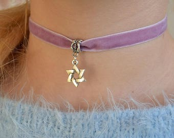 Jewish choker, Charm Choker necklace, Velvet choker, 90s choker for women, grunge, Judaica, Star of David, Jerusalem, Magen David jewelry