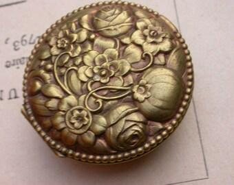 french vintage lady woman bronze box hand mirror pocket mirror make up box ornated flower rose Signed Paris old powder box