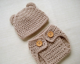 Beige Newborn bear hat and diaper cover set Crochet newborn outfit Baby boy photo outfit Newborn girl photo prop New born photography outfit