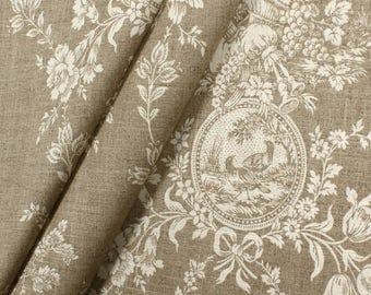Waverly Country Toile Linen Fabric Window Treatment-French Country Curtain Rod Pocket-French Country Draperies- French Country Linen Curtain