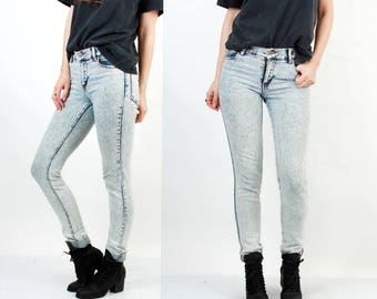 Acid Wash Jeans / Skinny Jeans / Stone Wash Jeans / Denim Leggings / Tight Jeans / Small Jeans