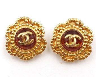 Chanel Vintage  24K Gold Plated Orange Gripoix Clip on Earrings