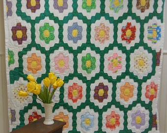 Never Used!   From Tennessee, Homemade, Grandmother's Flower Garden Quilt.    1960s.  82 x 69.
