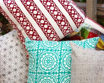 Bohemian Indian Block Print Throw Pillow