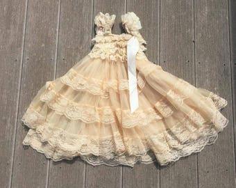 Ivory Lace Ruffle Dress Girl Dress Children Dress