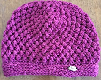 The Puff Beanie - Dark pink/magenta colored slouchy beanie, hat, winter accessory, perfect gift for women, teens, mom, daughter