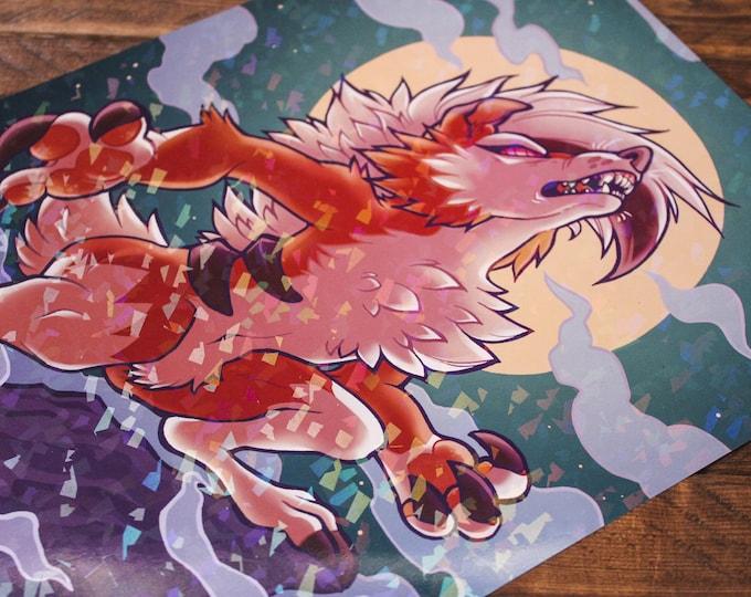 Sparkle Lycanroc A4 Print