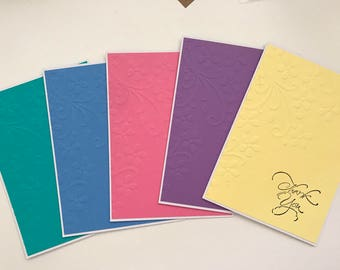 Set of 5 Handmade Cards - THANK YOU