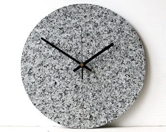 Grey Wall Clock - Faux Granite Clock - Recycled Vinyl Record Clock - Minimalist Clock - Imitation Granite - Vinyl Granite Clock
