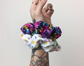 Hair Scrunchies 2 Handmade 90's Inspired Hair Scrunchie Pack Rainbow Star Print / Floral Grunge Hair Accessory Giant Printed Scrunchies