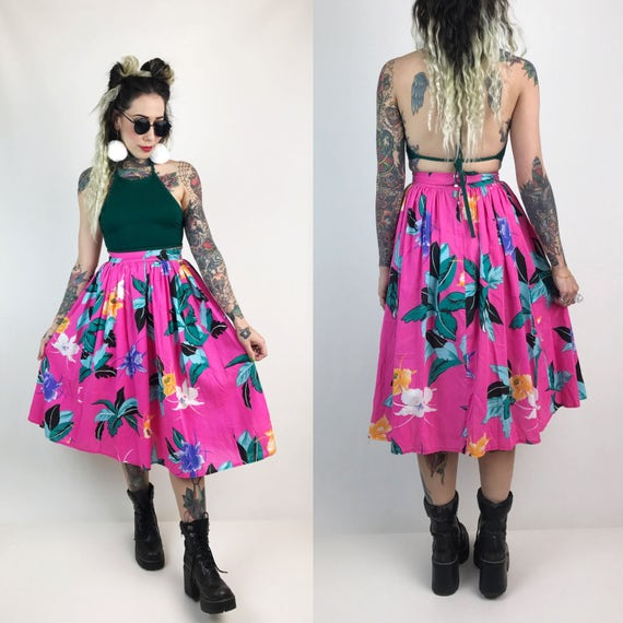 80's High Waist Tropical Print Floral Midi Skirt Small Size XS - All Over Print High Waist Hot Pink Skirt - Fitted High Waist Skirt Hawaiian