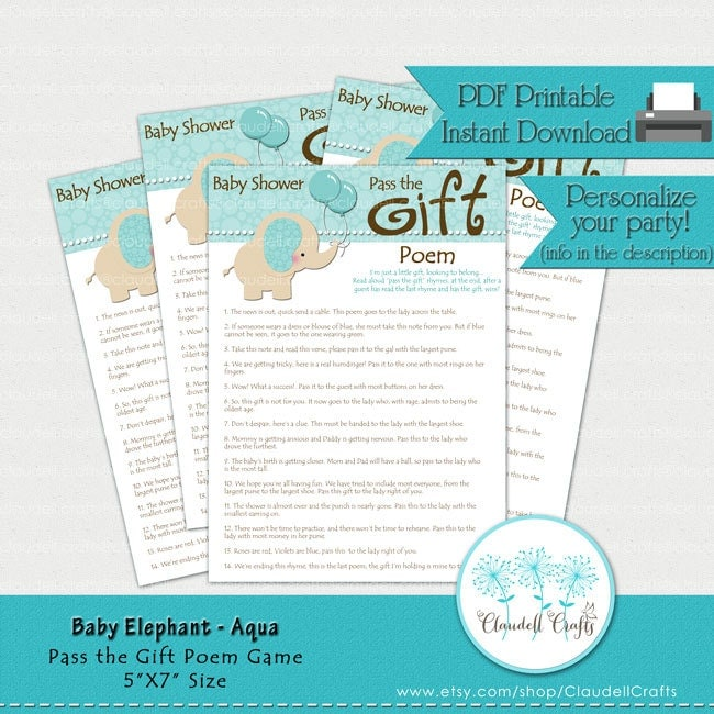 baby elephant aqua pass the gift poem baby shower game card