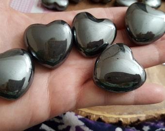 Hematite Heart ~ 1 Reiki infused 30mm polished heart