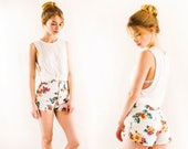 Sunflower High Waisted Denim Shorts  25 26 / Total 90s  / White Jean / High Rise Waist / corset lace up sides / Grunge / 1990s / xs Small