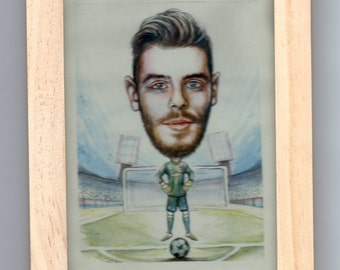Man Utd De Gea Framed Commisioned Caricature
