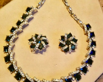 1960s Saphire blue rhinestone  necklace and earring set