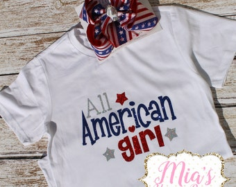 All American Girl, 4th Of July Shirt, Toddler 4th of July
