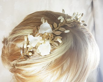 Bridal headband  Gold and white lillies with pearls