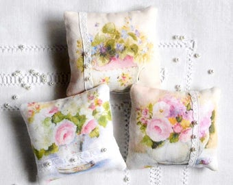Sewing kit, shabby chic French floral fabric scented bags kit, cottage chic  kit, bride gift