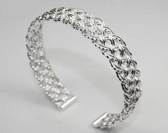 925 Sterling Silver Diagonal Basket Weave Woven Open Cuff