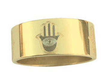 Hamsa,  Protection from Evil Mystical  Wedding Band 9mm Wide 14K Gold