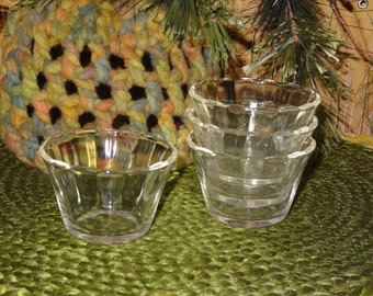 Set of 4 FIRE-KING Custard Cups / Fire-King Ramekins / Fire-King Dessert Cups / Fire-King Scalloped Custard Cups